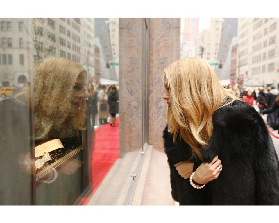 TIFFANY & CO. Rachel Zoe peers into the 1930s window installation at the Tiffany & Co. Fifth Avenue Flagship
